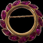 Kramer Magenta Fuchsia Rhinestone Circle Brooch
