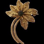 Vintage Gold Filled Filigree Faux Jade Brooch