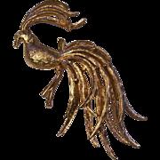 Majestic Peacock Gold tone Brooch Avon