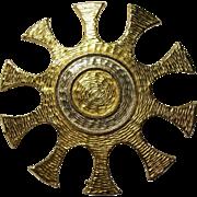Accessocraft NYC Sunburst Brooch Textured Gold tone