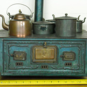 RARE Antique MARKLIN Toy Doll Stove Complete with Pots And Kettle
