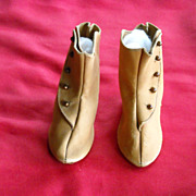 Antique Brown Leather Doll Boots