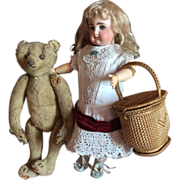 Antique Doll's Picnic Basket