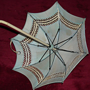 Antique Blue Doll Parasol /  Umbrella