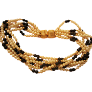 Fabulous 6 Strand faux Pearl Necklace with Gorgeous Clasp