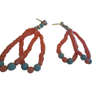 Southwestern Coral & Turquoise Dangle Earrings Native American