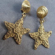 Down by the Sea Starfish  & Shells Runway Earrings  Clips