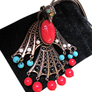 Egyptian Revival Bird Of Phoenix Articulated  Pendant Necklace