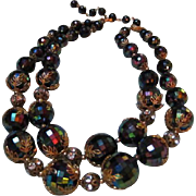 Gorgeous Deauville signed Double Strand Iridescent Beads Rhinestone Roundels