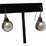 Gorgeous Mobe Pearls in Beautiful Intricate Sterling Silver setting on French wires 925