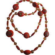 Rare & Gorgeous  Venetian Millefiori Vintage Orange Hand Blown Glass Beaded Necklace