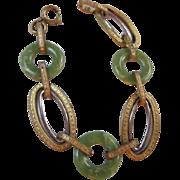 Art Deco Peking Glass Etched Two Tone Bracelet