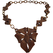Early Hand Carved Wooden Necklace Thumb Clasp