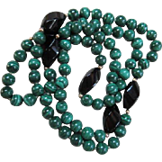 "Gorgeous Malachite, Onyx & 14k Gold Spacers Hand Knotted 31"" Necklace"
