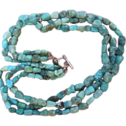 Gorgeous 3 Strand Natural Turquoise Necklace Sterling Clasp 925 USA signed