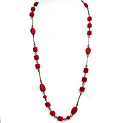 Cherry red glass beads brass bead links vintage jewelry