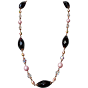 Vintage necklace Czech crystals plastic pearls cloisonné enamel beads