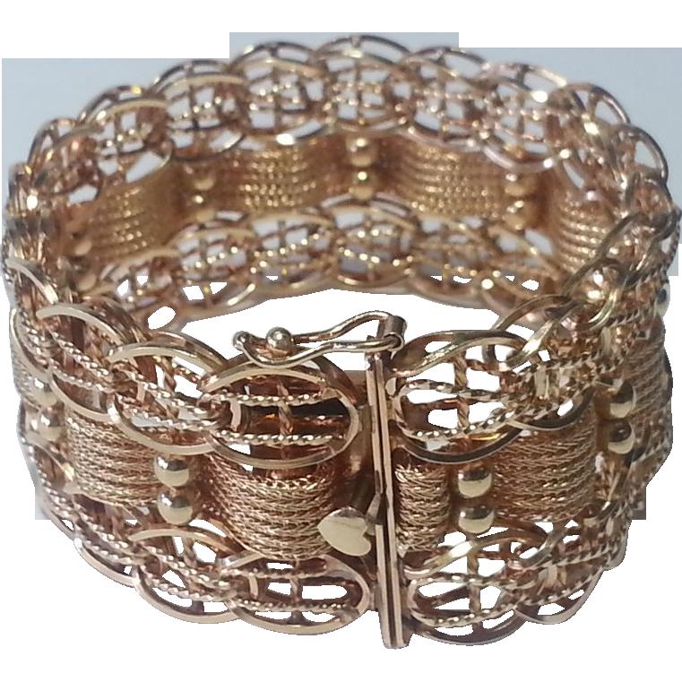 Gorgeous 1950's Wide 14k Vintage Charm Bracelet