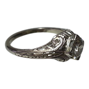 Vintage 18K White Gold & Diamond Filagree Ring .62 CT