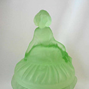 Depression Era Curtsy / Dancing Girl Puff Box Powder Jar Frosted Green Toussant