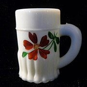 "Small Pressed Milk Glass Mug 3 3/8"" Ribbed Base aka Pleated Skirt"