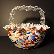 Basket Bohemian Art Glass Thorn Handle