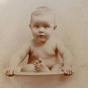 CABINET Card - Naked Baby in Bath Basin Bowl Photo