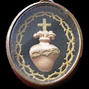 French 19thC Religious Ex Voto Embroidery Sacred Heart