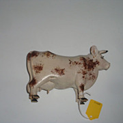 Wood Carving of a Brown Swiss  Cow