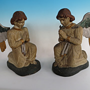 Pair of folk art carved Angels 19C