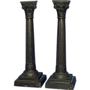 Pr. of Very Fine Cast Iron Candlesticks, sgnd. Zimmerman