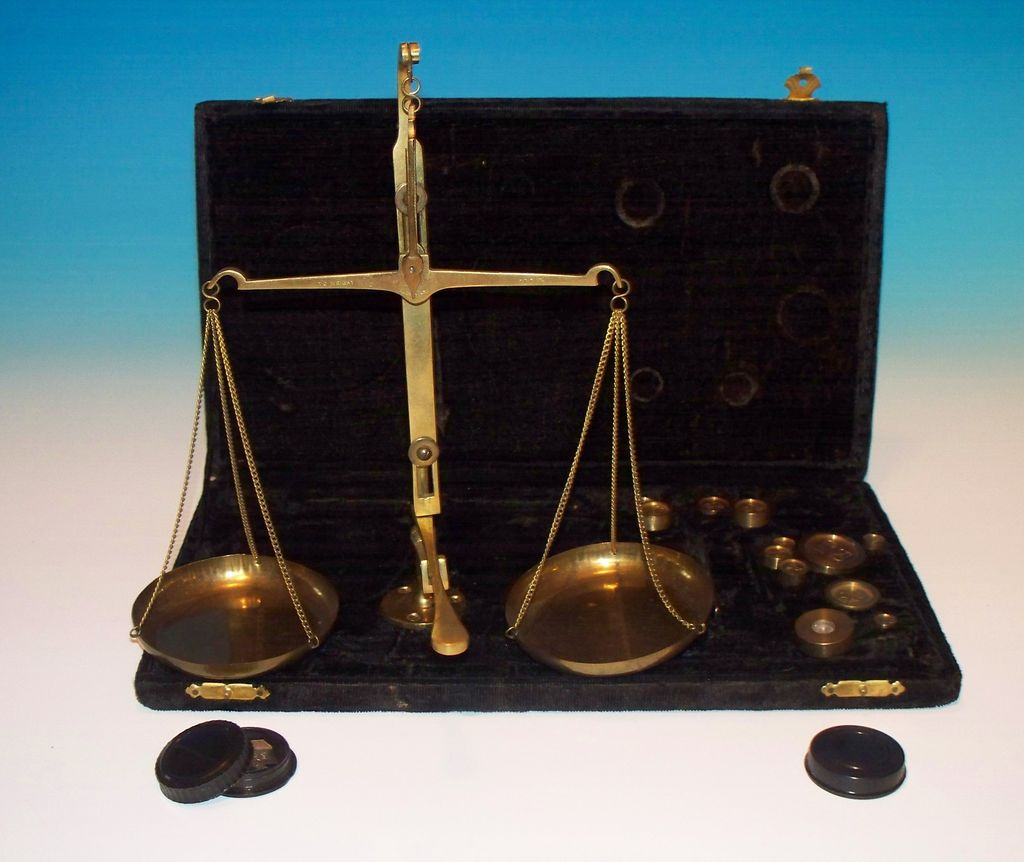 A fine Brass scale- boxed