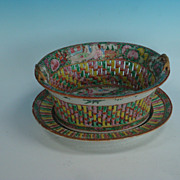 Rose Medallion Chestnut basket with undertray
