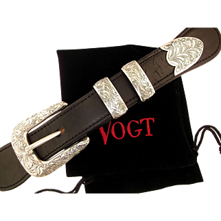 "Vogt Solid Sterling Silver ""The Engraved New Yorker"" Buckle Set"