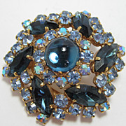 Round Blue  Rhinestone Brooch Pinwheel Design