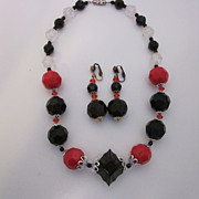 Vintage Black & Red Beaded Necklace & Earring Set