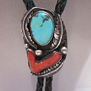 Very Attractive Navajo Bennett Sterling & Turquoise/Coral Bolo Tie