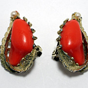 Coro Clip-on Earrings , Coral Colored With  Faux Pearl Accents