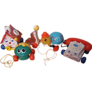 Cute collection of Fisher Price pull-toys, Turtle, Seal, Bug, Phone, Goldilocks Playhouse