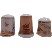 Collection of 3 thimbles, Limoges France ships, Chokin Japan flowers & butterflies, Akemi Japan birds