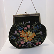 Beautiful Large Petit Point Purse With Flower Trimmed Lining