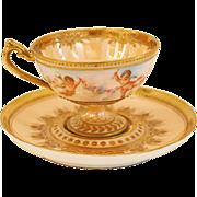 Ambrosius Lamm Dresden Demitasse Cup with Cherubs HP Raised Gold