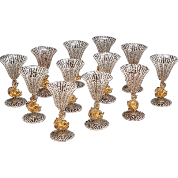 Set of 12 Vintage Venetian Murano Glass Dolphin Goblets