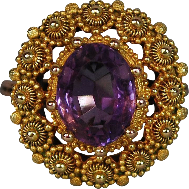 Georgian Antique Gold Amethyst Ring  Cannetille ca 1830