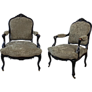 Antique French Ebonized  Fauteuils Armchairs Velvet Upholstery