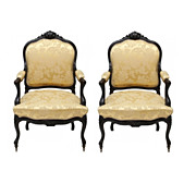 Pair of Antique French Ebonized  Armchairs