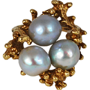 Vintage 14K Gold Grey Pearl Ring Free form