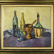 Vintage Still Life Painting, Wine Bottles by Edna Parsont