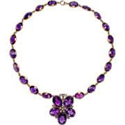 Antique Amethyst Gold Necklace Flower
