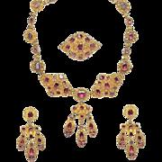 Antique 18K Gold Garnet Parure Necklace Earrings Brooch Garniture Cannetille Set ca 1830
